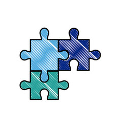 drawing puzzle pieces object shape work vector image