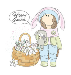 easter gift tilda doll cartoon vector image