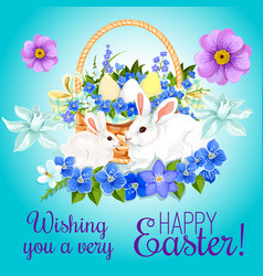 easter paschal card eggs and bunny greeting vector image