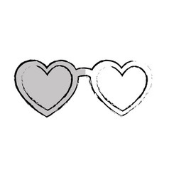 Eyeglasses with heart shape vector
