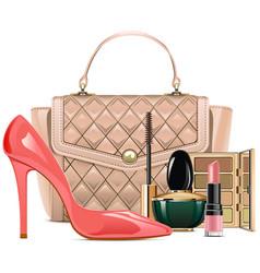 Fashion handbag with makeup cosmetics vector