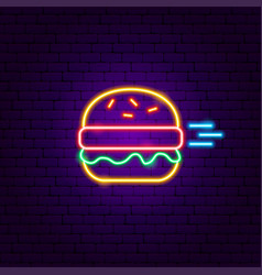 Fast burger neon sign vector