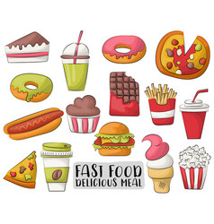 Fast food cartoon icons and objects set hand vector