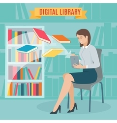 Flat concept of the electronic library vector image