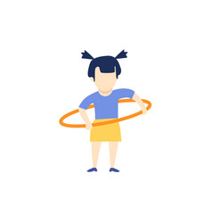 Flat girl kid doing hula hoop exercise vector