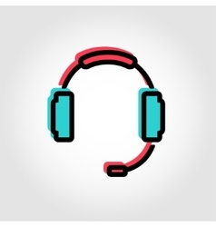 flat line headset icon vector image