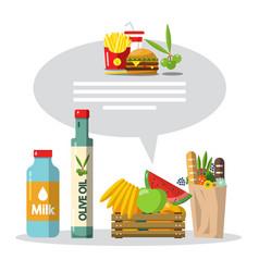 food flat design items set vector image