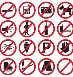 Forbidden icons set vector