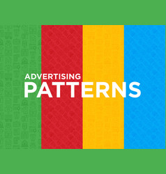 Four different advertising seamless pattern vector