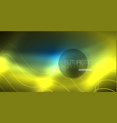 Glowing abstract wave on dark shiny motion vector