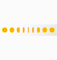 Gold coin animation effect rotating coin vector