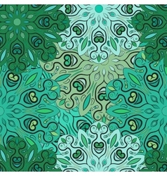 Green seamless pattern with flowery vector