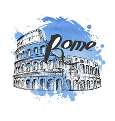Hand drawn colosseum vector