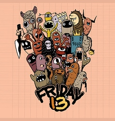 Hand drawn Friday 13 grunge vector