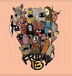 Hand drawn friday 13 grunge vector