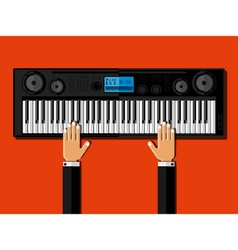 Hands playing the synthesizer vector image