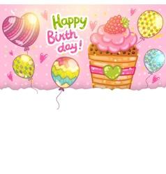 Happy Birthday card with raspberry cupcake vector