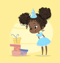Happy kid girl surprised of birthday present box vector