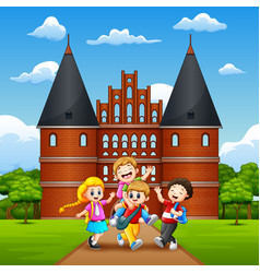 happy school children joyful and laughing in front vector image