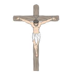 Jesus on cross crucifixion jesus on cross in vector