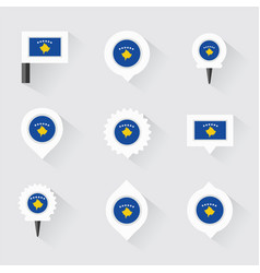 Kosovo flag and pins for infographic and map vector