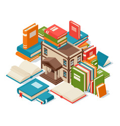 Library building surrounded books concept of vector