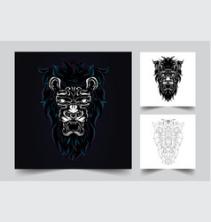 lion angry artwork vector image