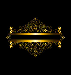 Luxury gold frame and double gold ribbon vector