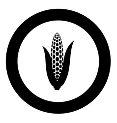 Maize icon black color in circle round vector