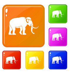 Mammoth icons set color vector