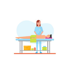 Massage therapy abdominal belly care icon vector