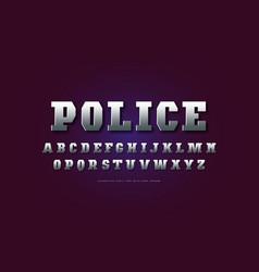 Metal chrome geometric serif font vector