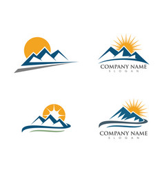Mountain icon logo template vector