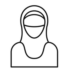Muslim woman icon outline style vector