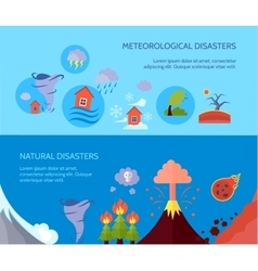Natural disaster 2 flat banners composition vector