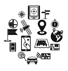 navigation icons set simple ctyle vector image