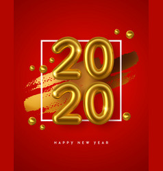 new year 2020 gold 3d number red background vector image