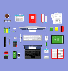 office items top view business and finance tools vector image