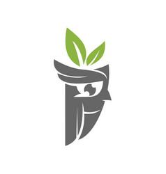 Owl leaf logo design template isolated vector