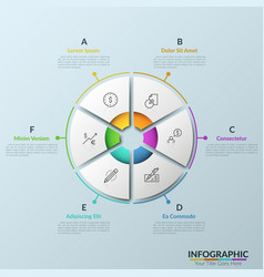 Paper white pie chart consisted of 6 parts with vector