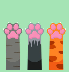 paws up different pets cats set design icon vector image