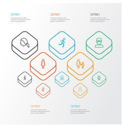 Person outline icons set collection of running vector