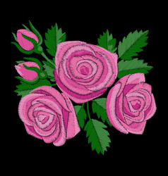 Pink rose embroidery vector