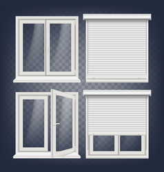 plastic window white metallic roller vector image