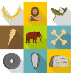 prehistoric way icons set flat style vector image