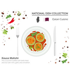 Qatari cuisine middle east national dish vector