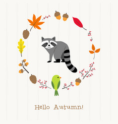 Raccoon with autumn frame card vector