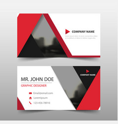 Red triangle corporate business card name card vector
