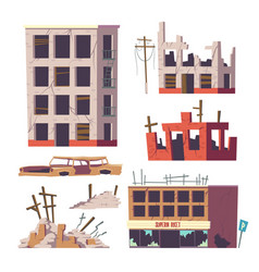 ruined abandoned houses and car set old buildings vector image