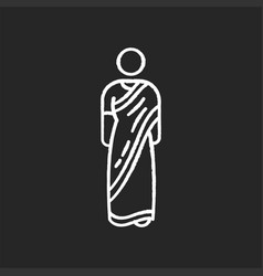 Sari chalk white icon on black background vector